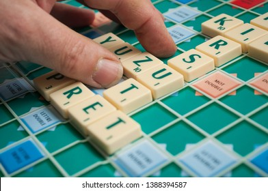 Mulhouse - France - 4 May 2019  - Closeup of plastic letters Z for forming word on Scrabble board game