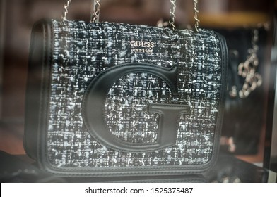 Mulhouse - France - 6 October 2019 - Closeup of black handbag from Gucci brand in luxury fashion store