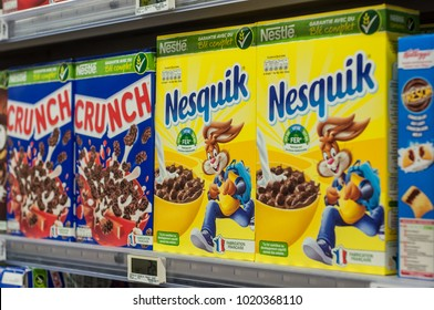 Mulhouse - France - 8 February 2018 - closeup of chocolate cereals from nestle brand at Super U supermarket