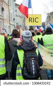 Mulhouse - France - 8 February 2019 - people protesting in the street against taxes and rising fuel prices and the RIC, the citizens' initiative referendum