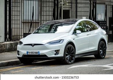 Mulhouse - France - 8 September 2019 - front view of white tesla car parked in the street