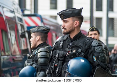Mulhouse - France - 9 February 2019 - french gendarmes during the  protesting  against taxes and rising fuel prices and for and the resignation of E. Macron,