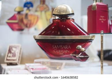 Mulhouse - France - 9 February 2020 - Closeup of Big bottle perfume of Samsara by Guerlain at the flea market