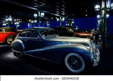 MULHOUSE - June 17, 2019: Delahaye luxury retro car in National Automobile Museum, Cité de l'Automobile, Collection Schlumpf