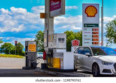 MULHOUSE,FRANCE-AUGUST 08,2018:SHELL fuel and gas station.
