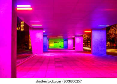 Mulitcolored Illuminated Gallery Tunnel in the Netherlands Architecture Institute Near Museum Park in Rotterdam. Horizontal image Orientation
