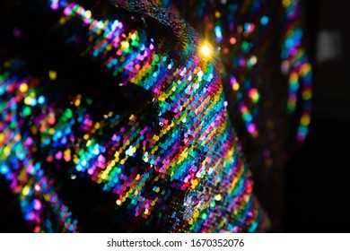 Mulitcolored rainbow sequins fabric blanket reflective