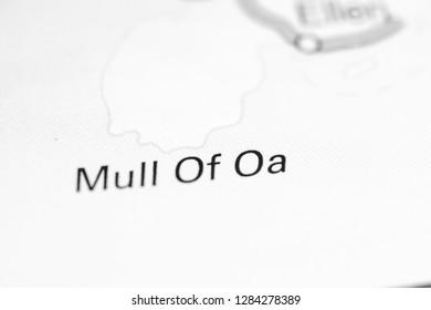 Mull of Oa. United Kingdom on a map