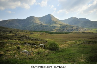 Mullaghanattin Mountain  Range viewed from Shronahiree Beg, Glencar, Co. Kerry, Ireland