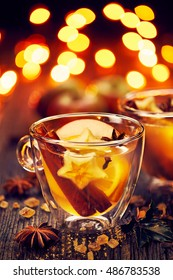 Mulled cider with addition of cinnamon, cloves, citrus and anise stars, delicious hot drink