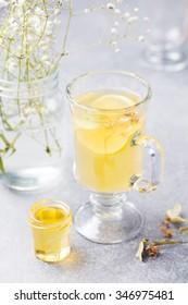 Mulled White Wine Spicy hot tea with lemon, honey, linden Warm Drink