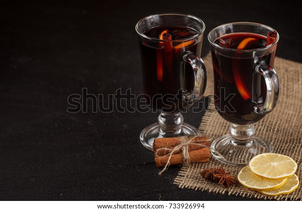 Mulled Wine Banner Glasses Hot Red Stock Photo Edit Now 733926994
