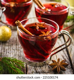 Mulled wine with cinnamon and anise stars, square image