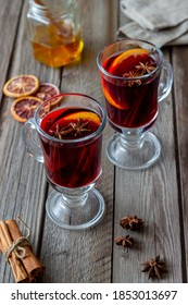 Mulled wine with cinnamon and orange. Hot drink. Winter. Recipe