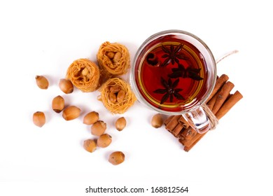 mulled wine and exotic food on a white background