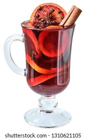Mulled wine in a glass goblet isolated on white background.
