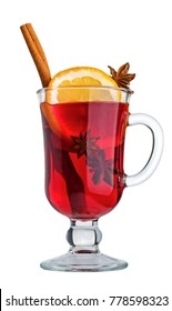 Mulled wine in a glass isolated on a white background