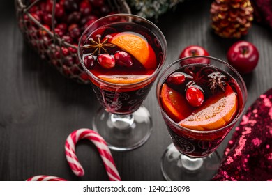 Mulled wine or hot punch with cranberries for Christmas