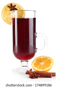 Mulled wine with lemon and spices isolated on white
