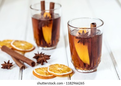 Mulled wine in a night celebration of  New Year party and delicious Christmas drink for autumn and winter season