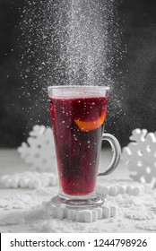 mulled wine on a snowy background