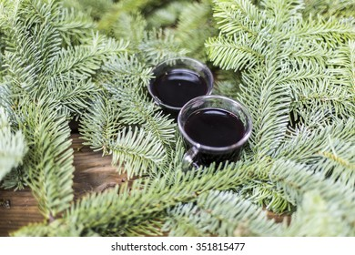 Mulled wine outside on fir branches
