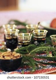 Mulled wine served with almonds, Sweden.