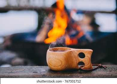 Mulled wine served from finnish wooden cup, kuksa