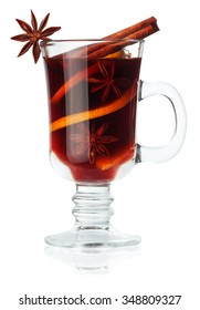 mulled wine with slice of oranges anise and cinnamon isolated on white