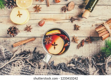 Mulled wine. With spices. Selective focus. Food and drink