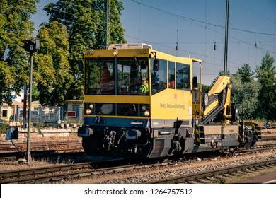 Mullheim, Baden-Wurttemberg, Germany - JULY 31 2018 : Network maintenance train from the Deutsche Bahn in the Mullheim trainstation