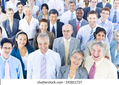Mullti-ethnic group of business person smiling