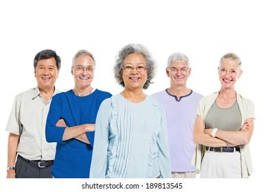 Mullti-ethnic senior group of people