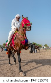 Multan , Pakistan APRIL 26, 2021: Horse dance in rural festival during wheat harvest season  in Punjab