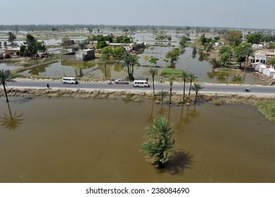 MULTAN, PAKISTAN - AUG 21: View of flood affected areas in Multan is  on August 21, 2010 in Multan, Pakistan.