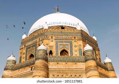 Multan, Pakistan - February 2019: Tomb of Shah Rukn e Alam in Multan Pakistan. Beautiful Daylight Photo of the Great Saint