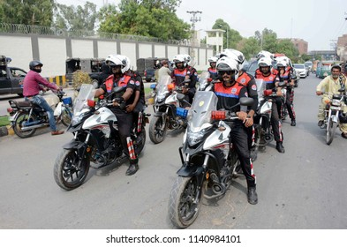 MULTAN, PAKISTAN - JUL 23: Police force convoy patrols in city during flag march to  maintain law and order situation connection of General Election 2018 on July 23, 2018 in Multan.