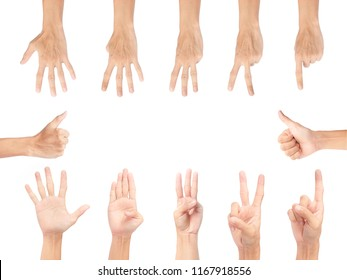 multi action hand on white background