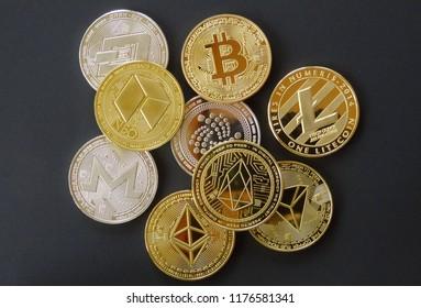 multi coins, crypto curreny coins, digital money, blockchain