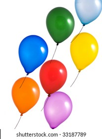 Multi color balloons on white background