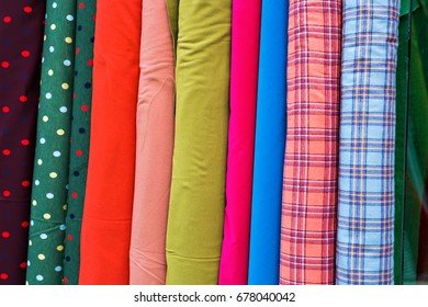 Multi color fabric in a row