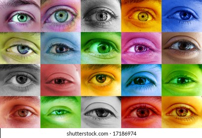 Multi color human eye concept. Many different color eyes from various people