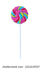 Multi color lollipop isolated on white background