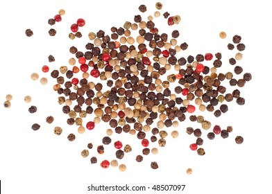 Multi color pepper seeds - isolated on white background