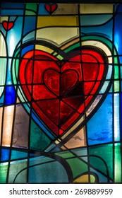 multi color red heart shape glass window