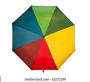 Multi color umbrella - seen from above and isolated.