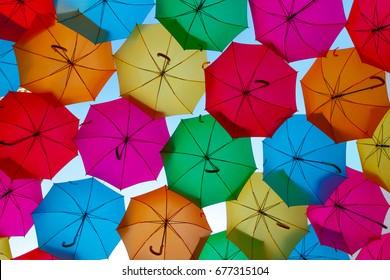 Multi color umbrellas background