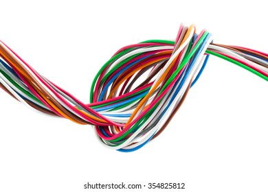 Multi Color Wires Ten pare line isolated on white background