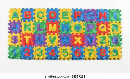 multi colored alphabet puzzle