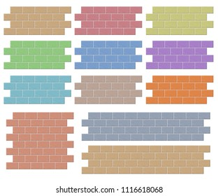 Multi colored brick wall seamless pattern background with clipping path
